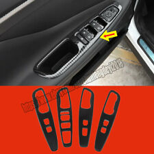 For Hyundai Santa Fe 2019 Carbon Fiber Door Window Lock Switch Lift Cover Trim