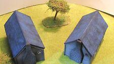 28mm Segunda Guerra Mundial dos casas rurales Lote 2 Pintado De Madera De Resina