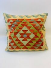 Geometric Red Multi Coloured Antique Cushion Cover of Afghan Handmade Wool Kilim