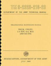 TM9-2320-218-20 ~ M151 Jeep / Mutt ~ Organizational Maintenance Manual ~ Reprnt