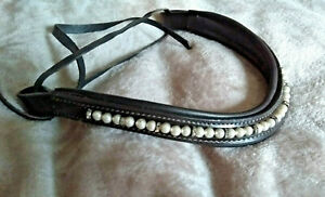 Leather Wave Browband*FAUX PEARLS Tiny Crystals*Dressage*BROWN* Pony/ Small Pony