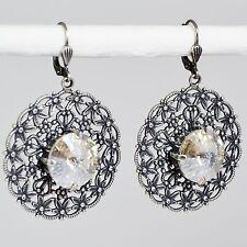 Ohrringe Ohrhänger groß Silber Swarovski Kristall Vintage retro antik weiß