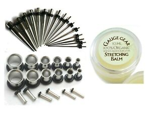 16g-00g Steel Ear Stretching Kit Tunnels Tapers Plus Instructions Gauge Gear