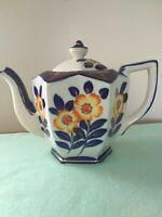 Moriyuma Vintage Colbalt Blue Yellow Flowers Tea Pot Gold Trim hand-painted.