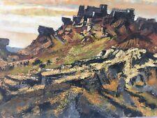 Peinture Huile toile Signé HST Paysage Village Baux De Provence 1976 Vinsobre