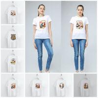 Cartoon Evil Power Letter Printed T-shirt Short Sleeve Loose Tops Women Clothing