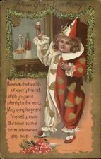 New Year - Little Girl Clown Costume Drinking Champagne or Wine Postcard