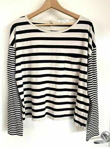 Trenery XXL Long Sleeve Tshirt Pocket Top Striped Black Off White Cotton Plus
