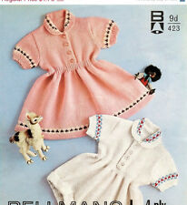 romper and dress 4ply knitting pattern 99p