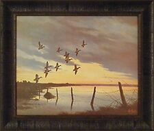 MALLARDS AT DAWN by Les Kouba 20x24 FRAMED PRINT Ducks Sunrise Lake Flying