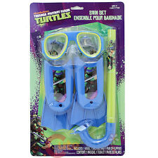 TMNT Ninja Turtles Kids Swim Set Swim Goggles Mask Snorkel Flipper 3pc Set