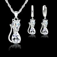 925 Sterling Silver Cat Kitten Crystal Pendant Necklace and Earring Set Gifts UK