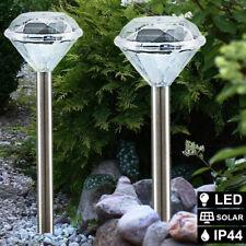 2x LED Solar Luces Espiga Acero Inoxidable Exterior Veranda Jardín Lámparas De