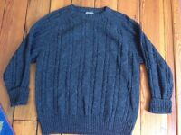 Vtg Members Only 100% Shetland Wool Heather Charcoal Gray Cable Knit Sweater L