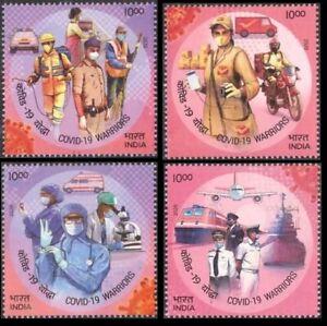 India Doctor Ambulance Police Postman Pilot Car Research Stamp Set MNH 2020