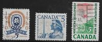 Canada Scott #390-92, Singles 1960-61 Complete Set FVF Used/MH