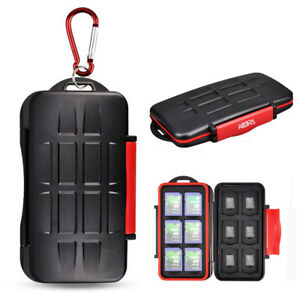 Red Water-Resistant Memory Card Case Holder Storage 12 SD SDHC SDXC+12 Micro SD