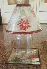 Yankee Candle Large Crackle Glass Shade & Tray ~ Red Green White Snowflakes