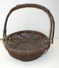 "19th Century Hand Made Split Oak Woven Basket w/ Handle 12""w x 12.5""h ~ 1890's?"