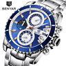 BENYAR Date Mens Quartz Wrist Watch Luxury Stainless Steel Band Military Watches