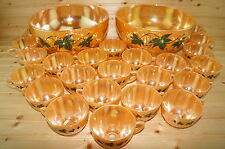 "Peach Lusterware Ivy Punch Bowl Set (2) Punch Bowls 10"" x 5¼"" & (25) Cups 2 3/8"""