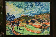 tableau peinture/papier P.Pascalet peintre provençal maison perchée C.78