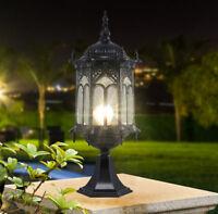Vintage Outdoor Garden Gate Pillar Mounted Coach Light Metal Lantern Glass Shade