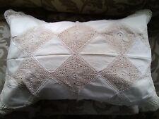 """Linen Lace Pillow Cover size 20""""x 30"""" color beige"""