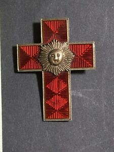 1891 ANTIQUE MASONIC SILVER ENAMEL Medal Red Cross Rising Sun Richard Spencer
