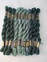 Vintage DMC 3 Cotton Perle Embroidery Thread New 15 M 10 Skeins Assorted Greens