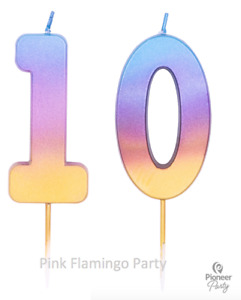 Rainbow Ombre Age 10/10th Number Birthday Candles