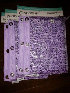 Yoobi Binder Zip Case Purple Abstract Design Lot Of 4 Cases