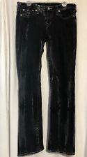 Men's True Religion Slim Straight World Tour 34x32 Black White Washed Jeans