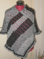 Hand Crochet Poncho in Changing Black/Grey Sz 8-12