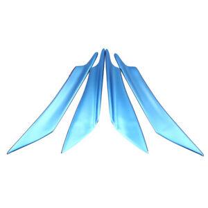 4X ABS Universal Car Front Bumper Lip Splitter Fins Body Spoiler Canards Blue