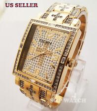 New Mens Gold PT Bling Hip Hop Elgin Rectangle Cross Dress Stainless Steel Watch
