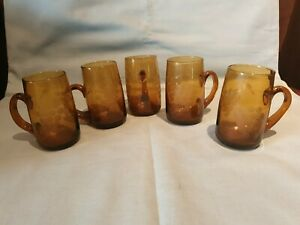 Vintage Set of 5 Amber Glass Hand Blown Etched Decorated Mugs Stunning GC