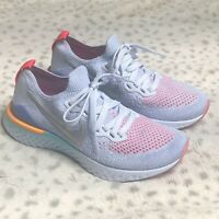Nike Epic React Flyknit 2 Sneaker Youth Size 4 Aluminum Pink Shoe Low Top