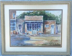 Original Framed Watercolor Painting, Texas Artist Mary Wiley