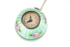 "Butcherer Gorgeous Turquoise Enamel ""Art Deco"" Pendant Necklace Watch -Swiss"