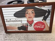 "New Rare COCA COLA  Bar Mirror Wood frame Advertising ""Refreshing"" Japan F/S"