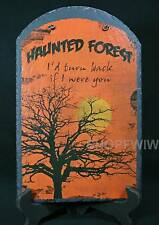 Hand-Painted  Slate Halloween Haunted Forest Sign