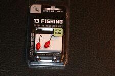 13 Fishing Doug Jig - Red Glow - Pack of 2 #10 1/16 oz Hook Ice Fishing Jig