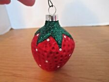 Vintage Blown Glass Strawberry Christmas Ornament~West Germany