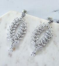 Stunning silver & white cubic zirconia leaf & tear drop delicate bridal earrings