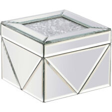 """MIRRORED MODERN 6"""" SQUARE CLEAR GLASS & CRYSTALS DECO VANITY DRESSER JEWELRY BOX"""