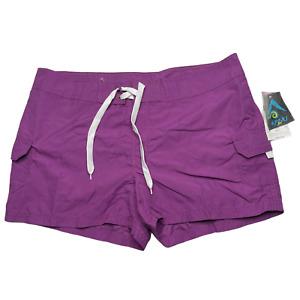 Kanu Surf Women's Breeze Boardshort Purple Swim Shorts 100% Polyester Size 14