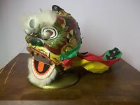 Vintage Handmade Chinese Parade Hand Puppet Dragon Head Paper Mache Fabric Rare