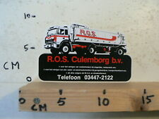 STICKER,DECAL IVECO TRUCK R.O.S. CULEMBORG BV TANKWAGEN
