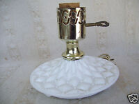 Vintage Hedco white milk glass electric table lamp No Shade Works